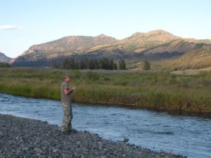 My son fishing Soda Butte Creek.