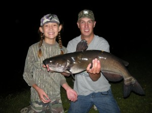"The ""kids"" with Emily's 30-inch channel cat."